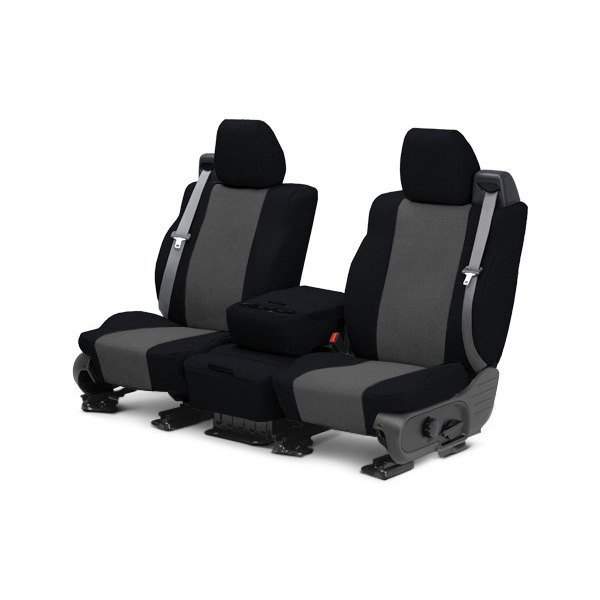 Image may not reflect your exact vehicle! CalTrend® - Front Tweed Black with Charcoal Custom Seat Covers