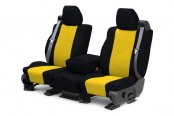 Image may not reflect your exact vehicle! CalTrend® - 1st Row Tweed Black with Yellow Custom Seat Covers