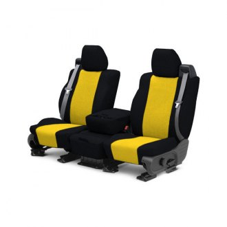 Image may not reflect your exact vehicle! CalTrend® - Front Tweed Black with Yellow Custom Seat Covers