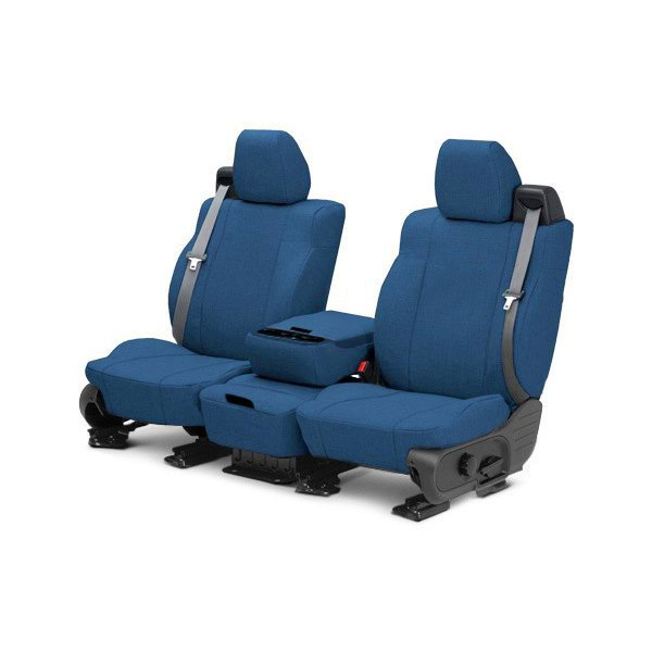 Image may not reflect your exact vehicle! CalTrend® - 1st Row Tweed Blue Custom Seat Covers