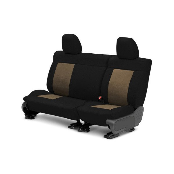 Image may not reflect your exact vehicle! CalTrend® - Center Tweed Black with Beige Custom Seat Covers