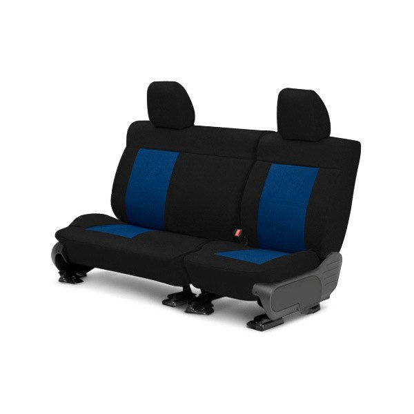 Image may not reflect your exact vehicle! CalTrend® - Center Tweed Black with Blue Custom Seat Covers