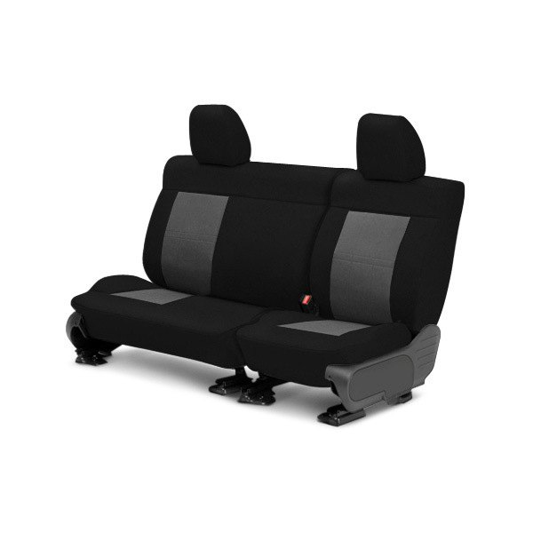 Image may not reflect your exact vehicle! CalTrend® - Center Tweed Black with Light Gray Custom Seat Covers