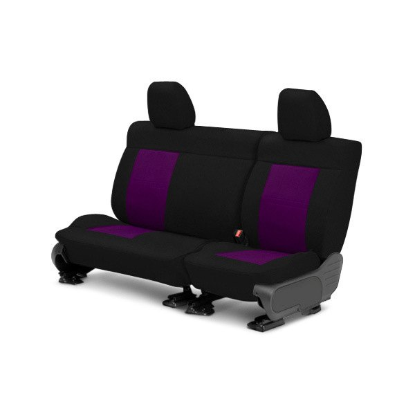 Image may not reflect your exact vehicle! CalTrend® - Center Tweed Black with Purple Custom Seat Covers