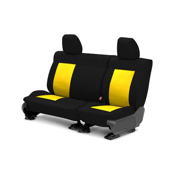 Image may not reflect your exact vehicle! CalTrend® - Center Tweed Black with Yellow Custom Seat Covers