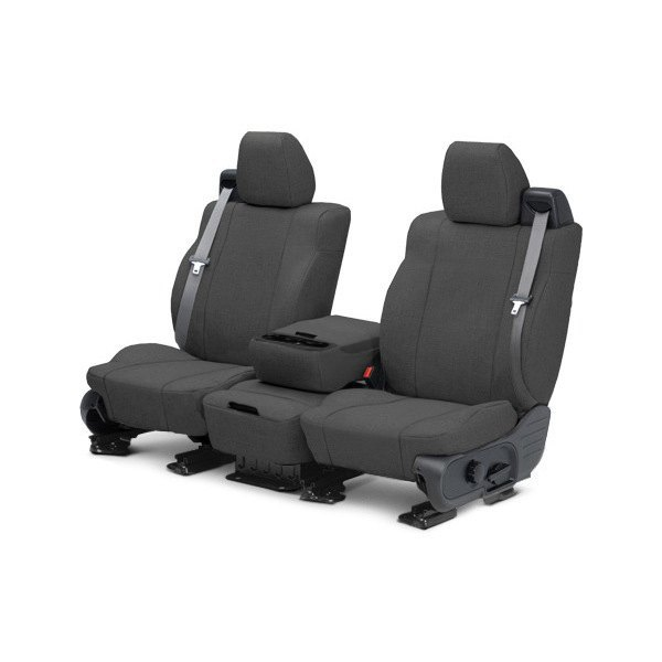 Image may not reflect your exact vehicle! CalTrend® - 1st Row Tweed Charcoal Custom Seat Covers