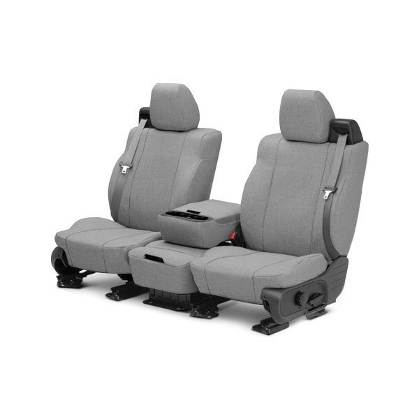 Image may not reflect your exact vehicle! CalTrend® - 1st Row Tweed Light Gray Custom Seat Covers