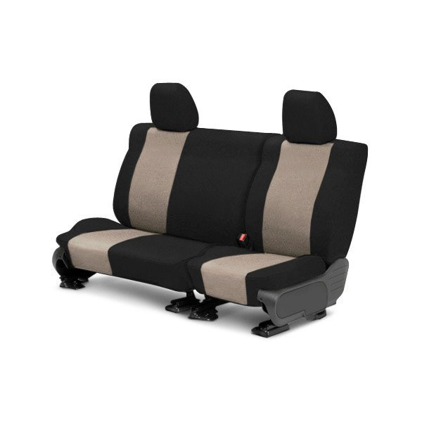 Image may not reflect your exact vehicle! CalTrend® - Rear Tweed Black with Beige Custom Seat Covers