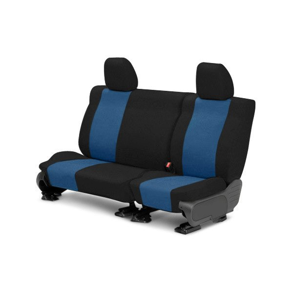 Image may not reflect your exact vehicle! CalTrend® - Rear Tweed Black with Blue Custom Seat Covers