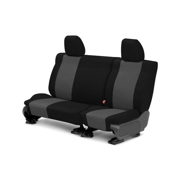 Image may not reflect your exact vehicle! CalTrend® - 2nd Row Tweed Black with Charcoal Custom Seat Covers