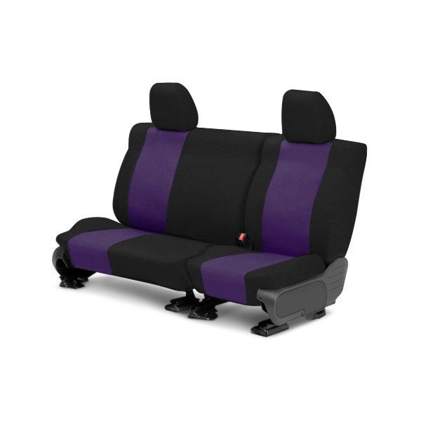 Image may not reflect your exact vehicle! CalTrend® - 2nd Row Tweed Black with Purple Custom Seat Covers