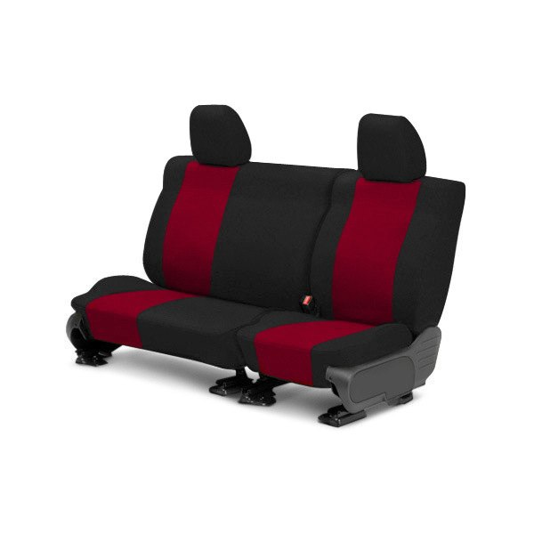 Image may not reflect your exact vehicle! CalTrend® - Rear Tweed Black with Red Custom Seat Covers