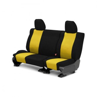 Image may not reflect your exact vehicle! CalTrend® - Rear Tweed Black with Yellow Custom Seat Covers