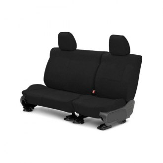 Image may not reflect your exact vehicle! CalTrend® - 2 Row Tweed Black Custom Seat Covers