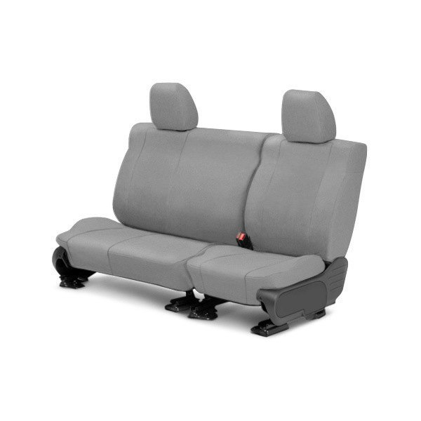 Image may not reflect your exact vehicle! CalTrend® - Rear Tweed Light Gray Custom Seat Covers