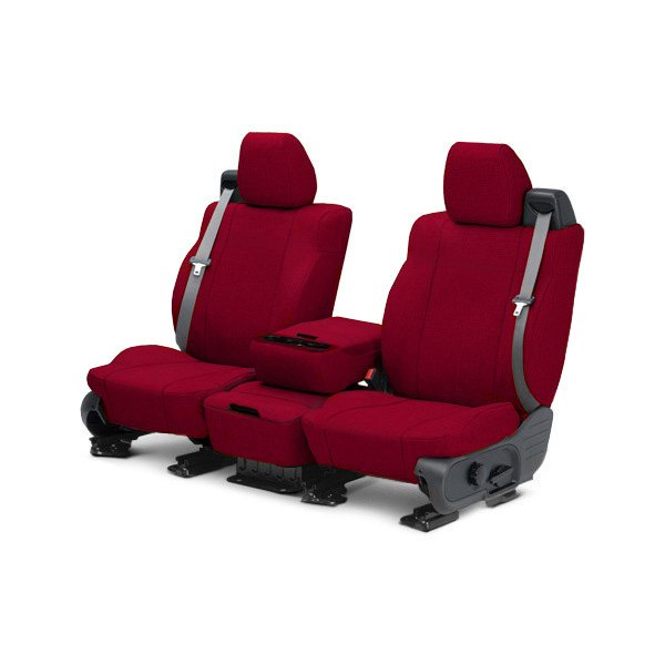 Image may not reflect your exact vehicle! CalTrend® - 1st Row Tweed Red Custom Seat Covers