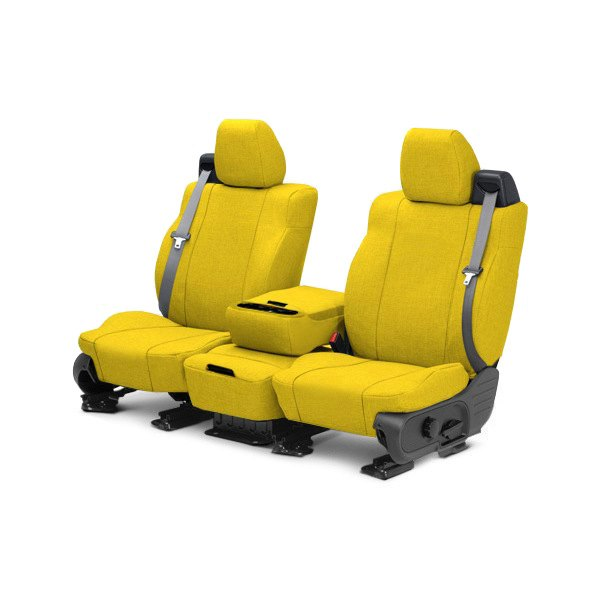 Image may not reflect your exact vehicle! CalTrend® - 1st Row Tweed Yellow Custom Seat Covers