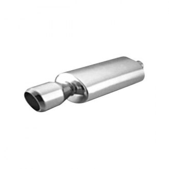 "Thunderbolt® - Stainless Steel Oval Hi-Polished Exhaust Muffler with Double Wall Round Slant Tip (2.25"" ID, 14"" Length)"