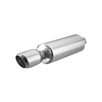 "Thunderbolt® - Stainless Steel Round Hi-Polished Exhaust Muffler with Double Wall Slant Tip (2.25"" ID, 4.25"" OD, 14"" Length)"