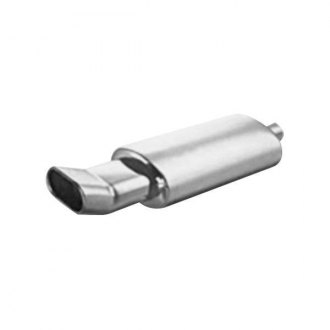 "Thunderbolt® - Stainless Steel Oval Hi-Polished Exhaust Muffler with Double Wall Oval Slant Tip (2.25"" ID, 14"" Length)"