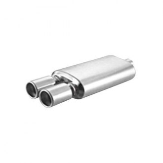 "Thunderbolt® - Stainless Steel Oval Hi-Polished Exhaust Muffler with Dual Double Wall Pencil Tips (2.25"" ID, 14"" Length)"