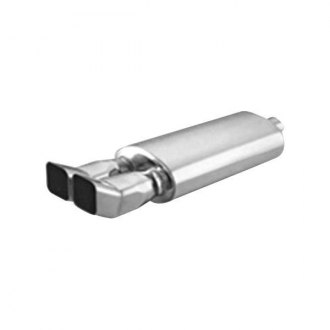 "Thunderbolt® - Stainless Steel Oval Hi-Polished Exhaust Muffler with Dual Square Turn Up Slant Tips (2.25"" ID, 14"" Length)"
