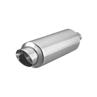 "Thunderbolt® - Stainless Steel Round Hi-Polished Exhaust Muffler with Slant Tip (2.25"" ID, 4"" OD, 13.75"" Length)"