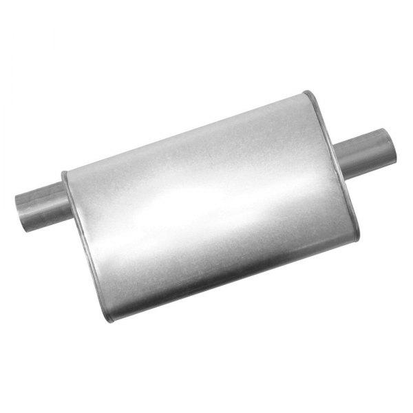 """Exhaust Muffler Premium Turbo Stainless Steel Oval Gray Exhaust Muffler 3/"""""""