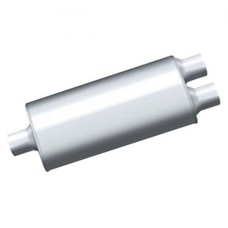 "Thunderbolt® - TBM™ Stainless Steel Oval Hi-Perfomance Exhaust Muffler (2.25"" Center ID, 2.25"" Dual OD, 14"" Length)"