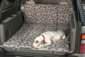 Image may not reflect your exact vehicle! Canine Covers® - Crypton™ Paw Print Champagne Cargo Liner