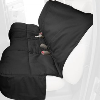Image may not reflect your exact vehicle! Canine Covers® - Polycotton Custom Rear Black Seat Protector