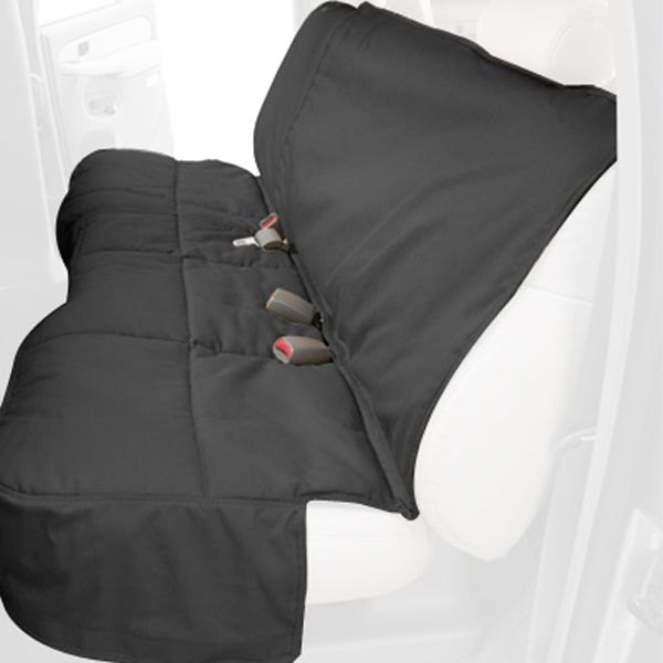 Image may not reflect your exact vehicle! Canine Covers® - Polycotton Custom Rear Charcoal Black Seat Protector