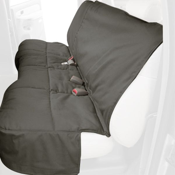Image may not reflect your exact vehicle! Canine Covers® - Polycotton Custom Rear Misty Gray Seat Protector