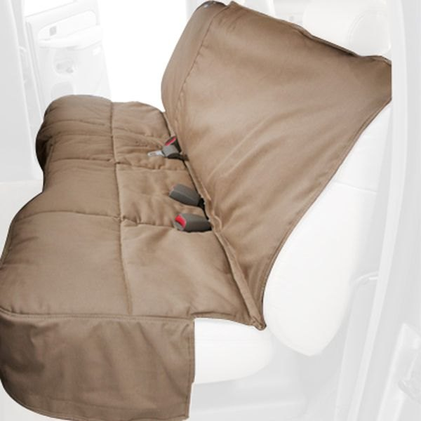 Image may not reflect your exact vehicle! Canine Covers® - Polycotton Custom Rear Tan Seat Protector