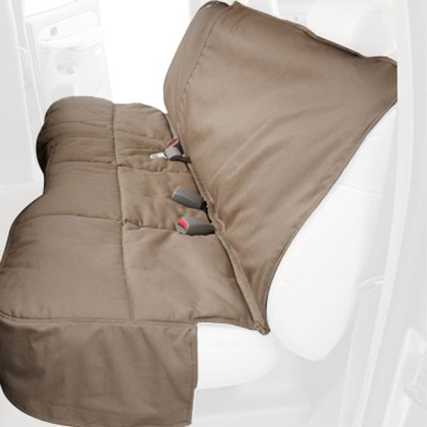 Image may not reflect your exact vehicle! Canine Covers® - Polycotton Custom Rear Taupe Seat Protector