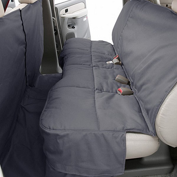 Image may not reflect your exact vehicle! Canine Covers® - Polycotton Custom Rear Gray Seat Protector