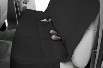 Image may not reflect your exact vehicle! Canine Covers® - Polycotton Semi-Custom Rear Charcoal Black Seat Protector