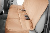 Image may not reflect your exact vehicle! Canine Covers® - Polycotton Semi-Custom Rear Tan Seat Protector