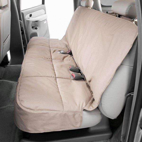 Image may not reflect your exact vehicle! Canine Covers® - Polycotton Semi-Custom Rear Taupe Seat Protector