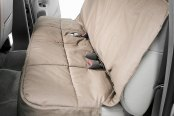 Image may not reflect your exact vehicle! Canine Covers® - Polycotton Semi-Custom Rear Wet Sand Seat Protector