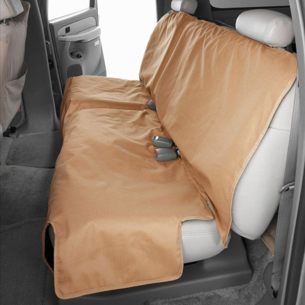 Image may not reflect your exact vehicle! Canine Covers® - Polycotton Econo Plus Rear Tan Seat Protector