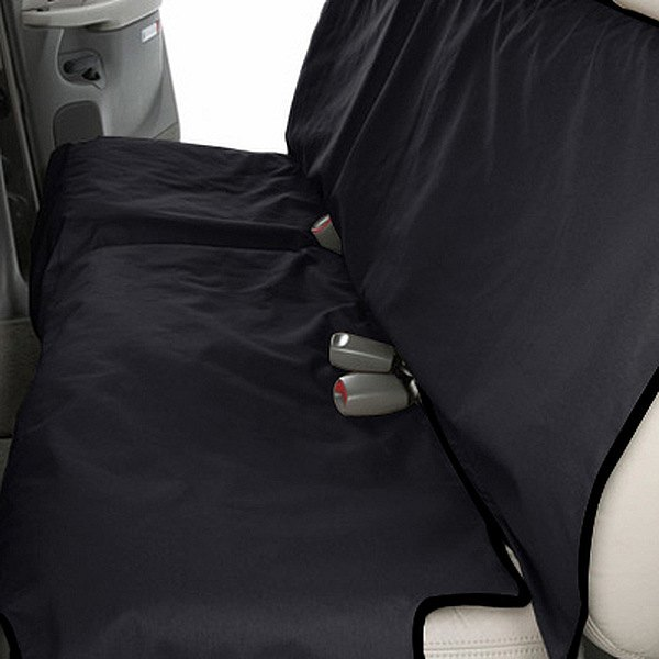 Image may not reflect your exact vehicle! Canine Covers® - Coated Polyester Econo Rear Black Seat Protector