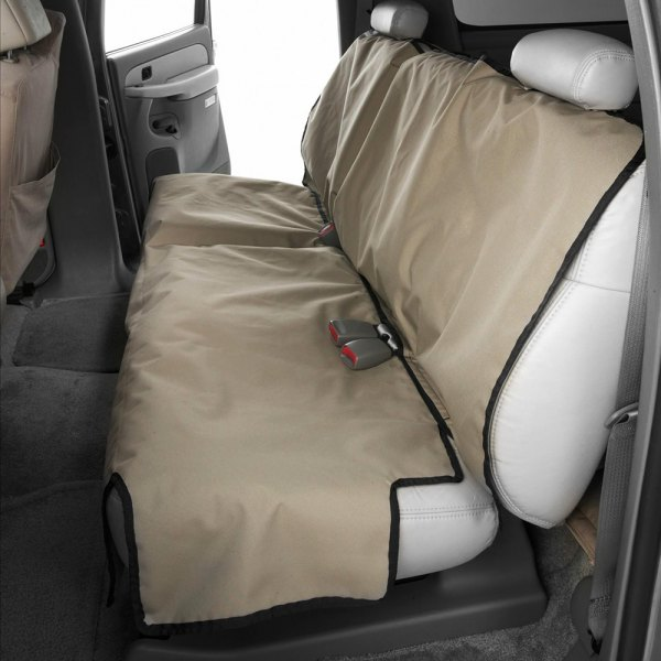 Image may not reflect your exact vehicle! Canine Covers® - Coated Polyester Econo Rear Taupe Seat Protector