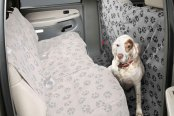 Image may not reflect your exact vehicle! Canine Covers® - Crypton™ Paw Print CoverAll Ash Seat Protector