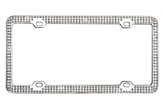 CarLashes® - White Diamonds on Chrome License Plate Frame