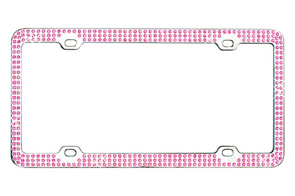 CarLashes® - Triple Row Pink Crystals on Chrome License Plate Frame