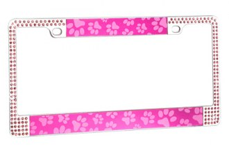 CarLashes® - Pink Paw with Double Rows Pink Crystals on Chrome License Plate Frame