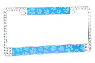 CarLashes® - Blue Paw with Double Rows White Crystals on Chrome License Plate Frame