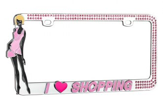 CarLashes® - I Love Shopping Logo on Chrome License Plate Frame
