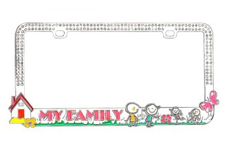 CarLashes® - Loving Family Logo on Chrome License Plate Frame